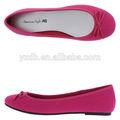 hermoso color de rosa de cuero de las señoras zapatos planos de moda plana zapato de vestir
