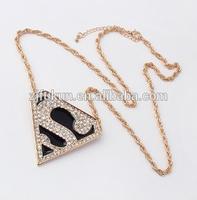 18k gold plated triangle shape black enamel superman pendant necklace