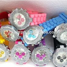 2015 New Product luxury women Fashion Lady brand GENEVA Diamond quartz Silicone Jelly watch for women dress watch silver