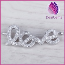 High quality 925 sterling silver 'love' design connector buckle