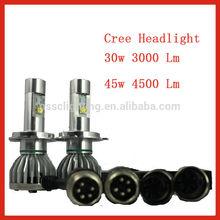 Newest arrival 12V/30W car led headlight 3000LM Original Cree H1/H3/H7/H8/H9/H11/9005/9006/D series