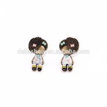 2015 vintage style oil-spot glaze cartoon character stud earrings for girls