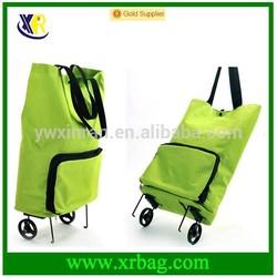 folding shopping trolley bag with 2 wheels/vegetable shopping trolley bag