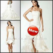 Summer Beach White Layers Skirt Detachable Train Wedding Dresses 2012 Short Chiffon Bridesmaid Dresses