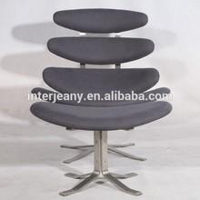de acero inoxidable sólido corona silla con otomana en piel genuina