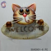 Metal cat welcome sign hanging of garden decoration