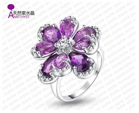925 silver With Natural Amethyst Ring Office lady_SA0008R