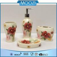 red flower resin 4 piece bathroom accessories set home decoration