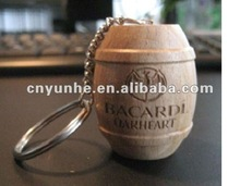 Wood barrel shaped keychain/ keyring