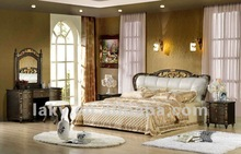 wood frame classic leather bed