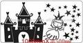 Pequeña princesa y su castillo de la pared de vinilo calcomanía& etiqueta