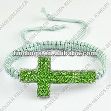 Sideways cross shamballa bracelet with clay pave beads