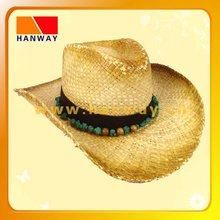 raffia straw rhinestone cowboy hat with beads at band