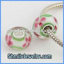 925 Silver Single Core Pink Flower White Murano Millefiori Glass Beads,BMG08
