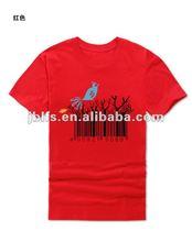 bar code printed with bird pattern 100%cotton t shirt