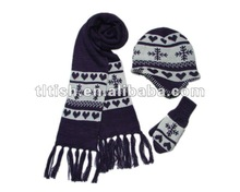 2012 new knitted kids hat and scarf glove set