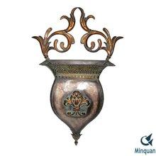 TUSCAN Brown IRON Wall Pocket Vase