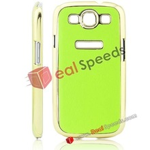 AA Elegant Style Leather Coated Back Case with Gold Electroplating Edge Back Protective Case for Galaxy S3 i9300(Green)