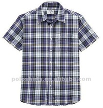 2012 Men's Iron Free Cotton Plaid Short Sleeve Shirts