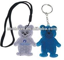 bear shape reflective pvc keychain for promotion