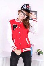 2012 Fashion Girl's Red Woolen Varsity Jacket