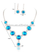 2012 Blue Rhinestone Wedding Jewelry Set