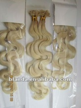 AAA grade virgin russian body weave blonde u tip /nail tip natural straight human hair extension