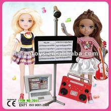 Fashion design clothes,mp3 player,plastic dresser with vinyl doll