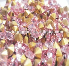 Gold foil crystal rhinestone pointed,pink chaton rhinestone SS14 hotest in 2012!Wholesale price!!