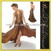 Taffeta Deep V-neck Halter Beaded Maroon Prom Dress