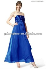 Chiffon Strapless Bridesmaid Dress W/sqr Neck,ruched Bodice W/large Flower, Empire Waist And Long Flared Skirt HB1348#