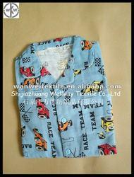 boys cotton light blue printing flannel pyjamas suit