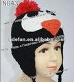 100% ganchillo de algodón sombreros de pingüinos, de punto sombrero de los animales, sombreros de vendedor de periódicos para los lactantes