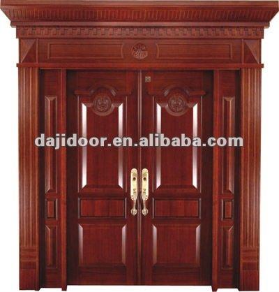 Madera maciza de lujo villa puertas de entrada modelo dj for Puertas entrada madera maciza precios