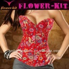 Red flowers pattern sexy lingerie croset