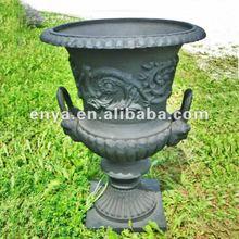 Antique Cast Iron Urns, Large Garden Planter in American Design