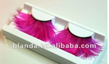 2012 New Arrive Fashion Wholesale Popular Red Colorful Exaggerated Hand Tied Feather Strip Eyelash On Sale