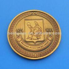 fake gold finish 3D souvenir coin, die cast metal coin
