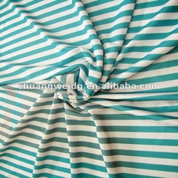 beautiful white and blue printed stripe fabric for coat
