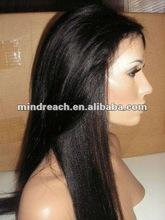 Hot selling 20'' 1b# light yaki 100% virgin Brazilian human hair full lace wig in stock accept paypal