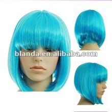 "12""Baby blue bange bob short wig"