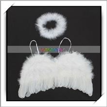 Fashion! White Small Feather Angel Wings Christmas Decoration -F1005WH
