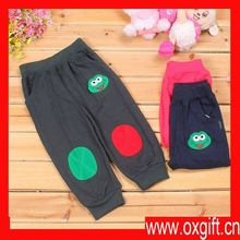 Single-color embroidery circle of frog head patch embroidered cotton baby pants/all cotton casual fashion children garments