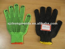 bleached cotton knitted pvc dotted safety mechanic glove