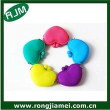 2012 Cheap Custom Silicon Girl Pochi Purse Heart Shape Coin Purse Promotion Gift
