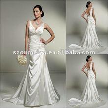 OUMEIYA 2012 2013 Collection ONW136 Soft Tulle Satin Sheath V Back Sexy Wedding Dress