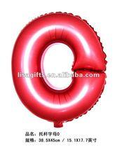 2012 hot selling 17 inch Alphabet letter O Foil Balloons