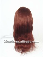 wholesale 16'' natural weave red color peruvian human hair full lace wig with highlight blonde