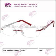 2012 Top Popular Eyeglasses Optical Frames,Rimless Red Metal Heart Fashion Women Eyeglasses