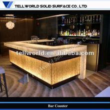 LED modern design acrylic solid surface bar top